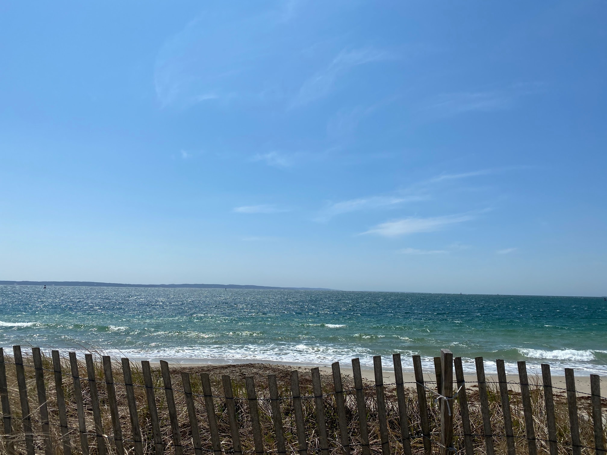 Photo of the beach with a dune fence in front.